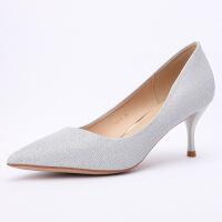 单鞋女士2019春季婚鞋女红色新娘高跟鞋女细跟尖头浅口中式婚礼鞋