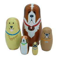 俄罗斯套娃 狗狗套娃 圣伯纳 沙皮狗 八哥 卡通狗 5层卡通狗套娃