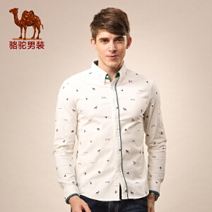 Camel/骆驼男装秋款衬衣 新款尖领时尚碎花棉质动物纹衬衫男士