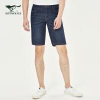 七匹狼男士牛仔短裤2019夏季新款品牌休闲五分裤直筒青年男装裤子
