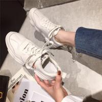 休闲运动鞋女2019新款时尚圆头厚底系带真皮学生跑步运动鞋潮