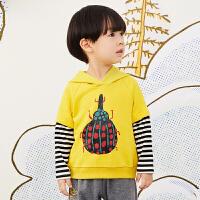 【秒杀价:153元】马拉丁童装男小童卫衣春装2020年可爱新款连帽拼接撞色卫衣