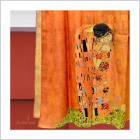 蒙马特大街艺术衍生品围巾桑蚕丝真丝长巾披肩克里姆特吻礼盒礼品