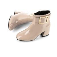 2019新款高跟侧拉链耐磨时装靴子 粗跟尖头欧美时装保暖女式皮靴