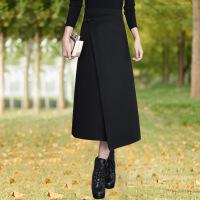新颖潮牌毛呢半身裙女秋冬新款中长款羊毛显瘦一片式呢子裹裙开叉一步裙子