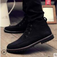 新款网红同款时尚男鞋社会精神小伙高帮帆布男士休闲板鞋韩版百搭潮鞋户外新品