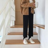 毛呢高腰chic西装裤女2019秋冬韩版九分直筒学生宽松阔腿休闲