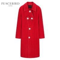 红色中长款毛呢大衣女2019春装新款长袖时尚宽松外套女太平鸟女装