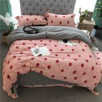 秋冬全棉加厚磨毛四件套小清新床上用品粉色公主风全棉冬季4件套定制
