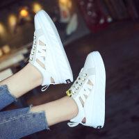 2018夏季新款单鞋女鞋低帮鞋韩版潮学生圆头休闲运动鞋镂空小白鞋 白色 35