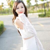 夏季雪纺蕾丝素色防晒袖套手套 简约长款遮阳防紫外线防晒袖套手套颜色随机