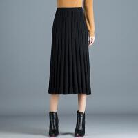 针织半身裙女秋冬中长款高腰包臀裙显瘦一步裙毛线裙子2018新款 均码 1尺8到2尺5
