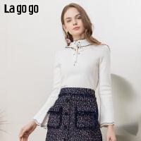 【领�幌碌チ⒓�120元无门槛优惠券】Lagogo/拉谷谷2019春季元气修身短款时尚针织衫女IAMM431A23