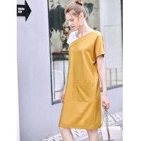 【到手价105.9元】Amii极简小个子学生风连衣裙2019夏季新款撞色拼接收腰显气质裙子