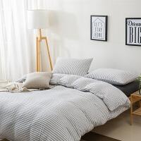 针织棉四件套新疆天竺棉三件套简约风纯棉床笠被罩全棉床单4件套 白色 雅白细条