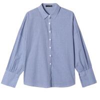 【秒杀价33元】唐狮春装新款衬衫女都市时尚潮流小格子宽松绑带长袖衬衫Z