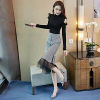 欧美秋冬针织连衣裙秋季女新款韩版女神范职业OL气质套装裙格子包臀半身裙子两件套装 黑色