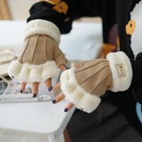 手套女冬天学生冬季保暖可爱日系毛绒卡通少女心韩版半指加厚手套