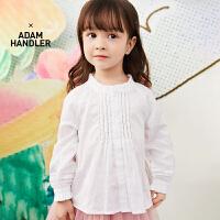 【5折券预估价:129.5元】马拉丁童装女小童衬衫春装2020年新款白色木耳娃娃衫长袖衬衫