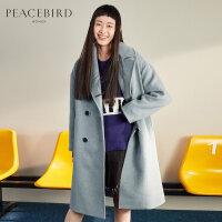 雾霾蓝翻领双排扣毛呢外套女韩版中长款春装2019新风衣式羊毛大衣
