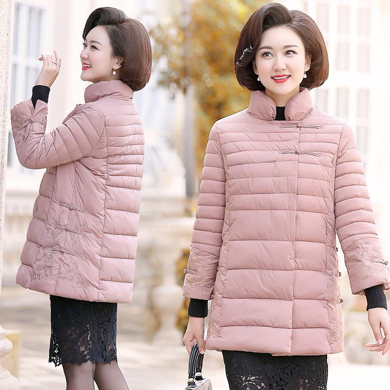 中国风妈妈冬装棉袄子中年女2018新款羽绒外套中老年时尚棉衣   买了否冷|全场满两件送PU皮打底衫