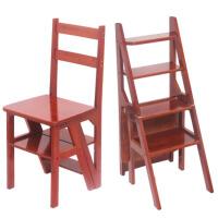 实木家用折叠梯多功能楼梯椅梯凳加厚室内登高小木梯简易三步爬梯