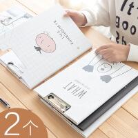 包邮2个装A4纸质双板文件夹板学生用韩版资料夹写字考试垫板演讲稿夹文件记事挂件垫夹书写带夹子试卷板夹可爱女