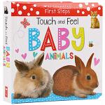 英文原版 Touch and Feel Baby Animals 幼儿启蒙早教触摸书儿童英文纸板书Early Lear