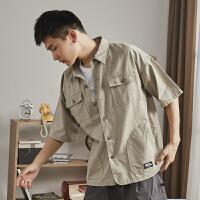 【1.5折价71元】唐狮美式工装衬衫男短袖夏季军事风多口袋衬衣日系复古宽松外套潮