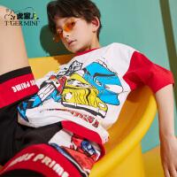 【3件2折:37元】小虎宝儿儿童短袖T恤纯棉男童上衣薄款中大童2021夏季新款