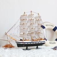 一帆风顺帆船摆件大型船模型手工木制工艺品家居客厅装饰品地中海