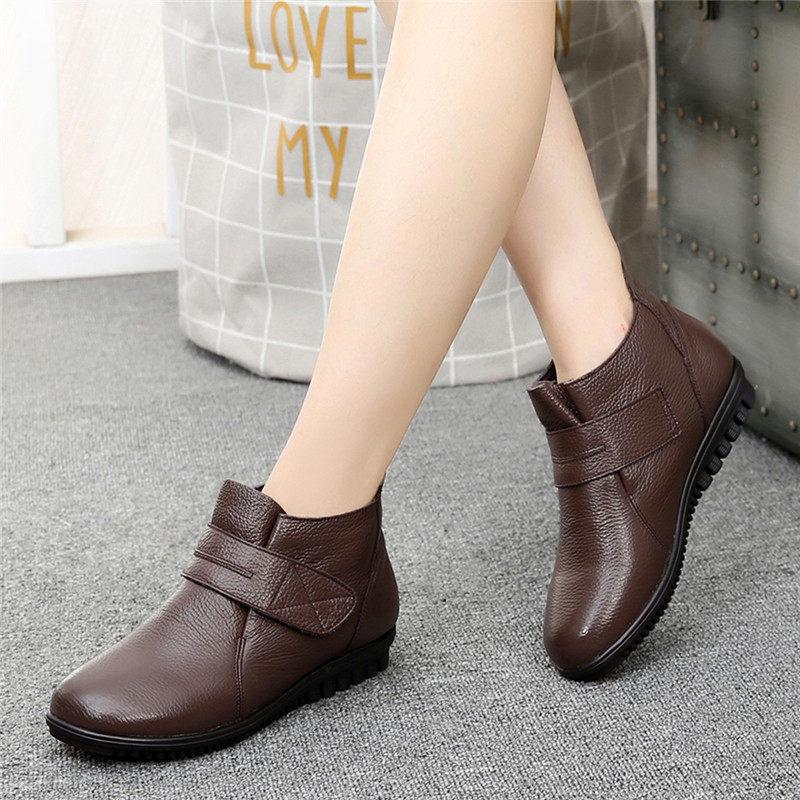 妈妈鞋棉鞋加绒保暖平底老人皮鞋女中老年人女鞋中年短靴   冬季时尚新款女鞋 男鞋