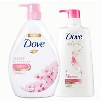 多芬沐浴洗发套装 樱花甜香沐浴乳1千克+日常滋养洗发乳650ml