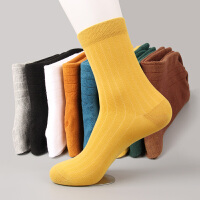 袜子男士中筒袜潮流复古色吸汗运动袜加厚秋冬季中筒长袜