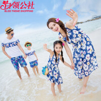 白领公社 亲子装 夏季新款一家四口沙滩装蓝色条纹雪纺度假母女装家庭装宝宝沙滩裙儿童连衣裙