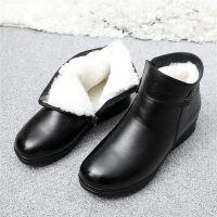 妈妈鞋棉鞋女冬加绒保暖老人平底短靴中老年皮鞋中年女鞋 黑色