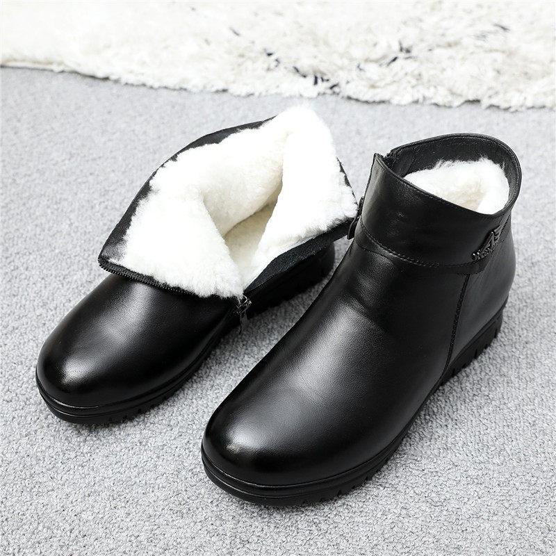 妈妈鞋棉鞋女冬加绒保暖老人平底短靴中老年皮鞋中年女鞋 黑色  冬季时尚新款女鞋 男鞋