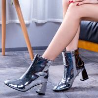 短靴女冬2018新品韩版百搭性感亮漆皮圆头银色粗跟高跟马丁靴女
