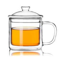 350ml复古透明茶缸马克杯双层玻璃杯咖啡杯带盖耐热隔热水杯子早餐杯下午茶杯牛奶杯花茶杯