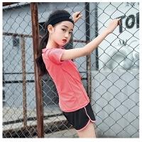 女童运动套装夏季瑜伽服儿童女孩中大童短袖跑步速干衣健身服