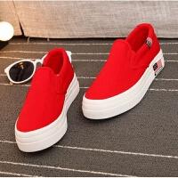 春秋女鞋平跟厚底一脚蹬懒人帆布鞋内增高中学生大红休闲鞋女板鞋