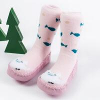 宝宝袜子0-3岁秋冬中筒袜 防滑地板袜毛圈加厚长筒学步鞋袜
