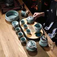 整套功夫茶具套装茶壶茶杯茶道家用陶瓷简约复古哥窑冰裂日式开片
