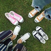 休闲平底布鞋韩版白色开口笑黑色帆布鞋女鞋系带小白鞋板鞋平跟