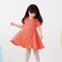 【1件秒杀价:160】马拉丁童装女童连衣裙2020夏装新款艺术抽褶拼接设计红色裙子