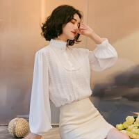 2019秋装新款韩版显瘦长袖设计感小众很仙的上衣洋气蕾丝雪纺衬衫