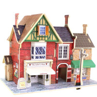3d立体拼图建筑模型小屋 房子拼装积木儿童木质玩具