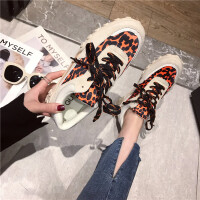 2019春季新款松糕厚底系带真皮牛皮豹纹休闲鞋女韩版舒适运动鞋