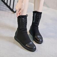 2018秋冬新款短靴女内增高厚底弹力靴中筒休闲毛线女鞋
