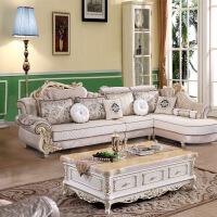 欧式布艺沙发简欧小户型转角实木雕花可拆洗整装客厅家具组合套装l
